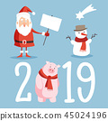 Christmas and New Year 2019 cute icons set. Santa with board sign, snowman and pig isolated vector 45024196