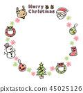 크리스마스 프레임 손으로 그린 바람 45025126