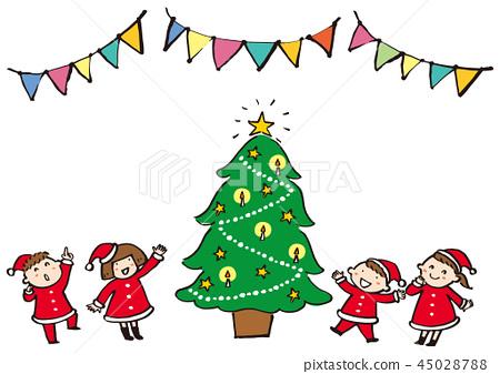 크리스마스 트리와 아이 45028788