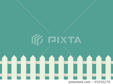 White fence in flat style 45030278