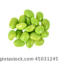 green soybeans on white background.Top view. 45031245