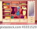 Vector dressing room with wardrobe, illuminated mirror 45031520