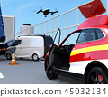 A drone flying from a rescue SUV rushed to investigate a freeway traffic accident 45032134