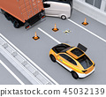 A drone flying from a rescue SUV rushed to investigate a freeway traffic accident 45032139