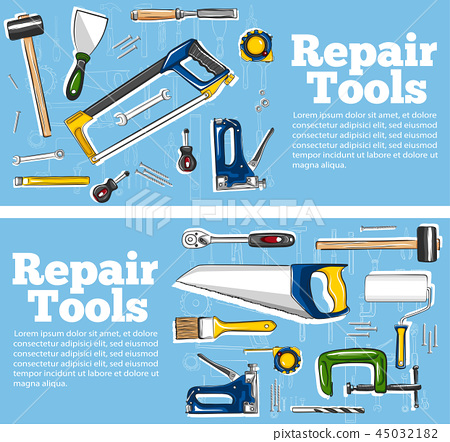 Repair tools flyers in hand drawn style 45032182