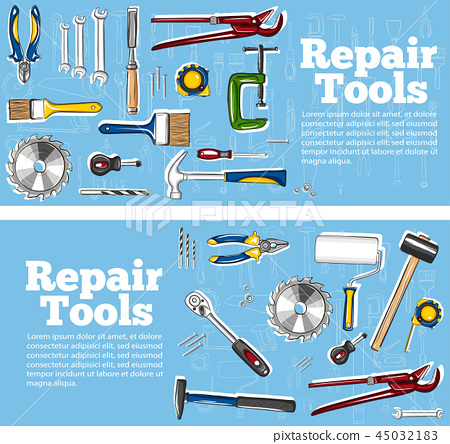 Repair tools flyers in hand drawn style 45032183
