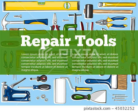 Repair tools banner in hand drawn style 45032252