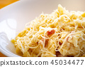 Macaroni carbonara on a white dish  45034477