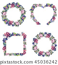 floral, foliage, watercolor 45036242