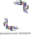 floral, foliage, watercolor 45036244