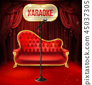 karaoke concept. Red sofa with microphone 45037305