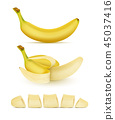 set of yellow bananas, sweet tropical fruit 45037416