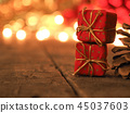 Gift boxes with blurred Christmas lights 45037603