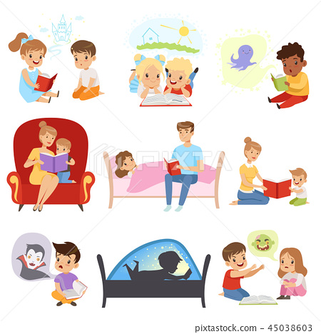 Children reading books and dreaming, parents reading bedtime stories for their kids, imagination and 45038603