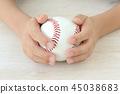 Boy's hand with baseball ball 45038683