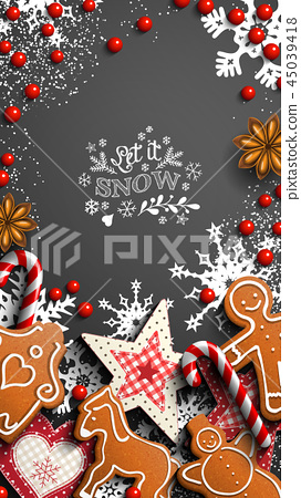 Mobile phone Christmas wallpaper, gingerbread and 45039418