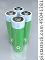 Four standing green and blue recycable batteries  45041381