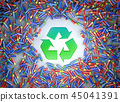 hundreds of colorful batteries and recycle symbol 45041391