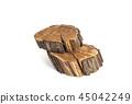 Felled tree slice. Wood texture. Isolated on white 45042249