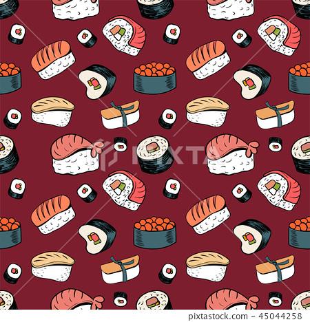 Sushi seamless background 45044258
