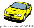 懷舊國內生產的跑車黃色汽車例證 45045416