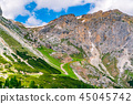 View of trekking route in the Dolomites 45045742