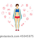 Girl before and after diet or weight loss. 45045975