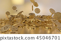 3D rendering Bitcoins falling on a pile 45046701