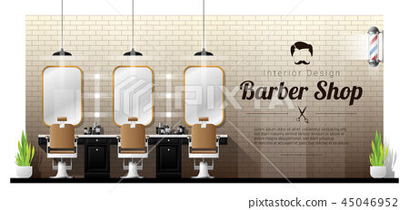 Interior background of vintage barber shop 45046952