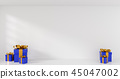Blue Christmas gift boxes in a bright room 45047002