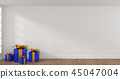 Blue Christmas gift boxes in a bright room 45047004
