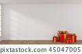 Red Christmas gift boxes in a bright room 45047005