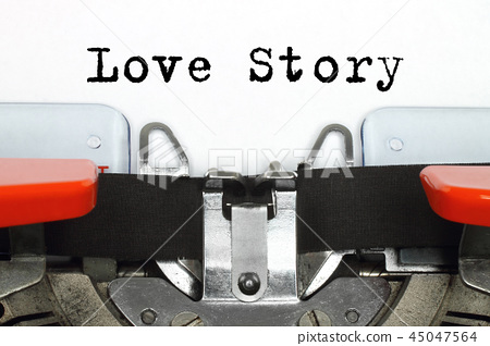 Part of typing machine with typed Love Story words 45047564