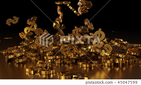 3d rendering of falling signs of dollars 45047599