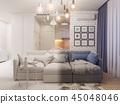3d illustration living room and kitchen interior design. 45048046