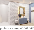 3d illustration of the interior design of an apartment in Scandinavian style 45048047