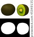 Kiwi fruit with alpha channel 45049135