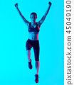 Exercises, jumping, Woman 45049190