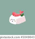 Shrimp nigiri sushi Japanese traditional food vector illustration. 45049643