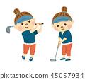 女子打高尔夫球 45057934