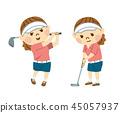 ผู้หญิงกำลังเล่นกอล์ฟ 45057937