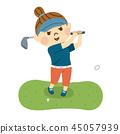 女子打高尔夫球 45057939