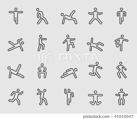 Line icons set for Body exercise 45058047