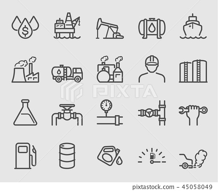 Line icons set for Oil industry 45058049