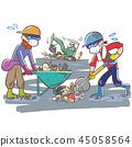 잔해 철거 작업에 땀을 흘리는 사람들 자원 봉사 45058564