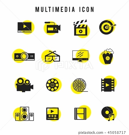 Black and yellow multimedia icon set 45058717