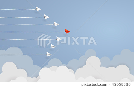 Business concept. Red paper airplane flying 45059386