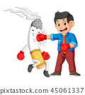 bussinesman boxing with a cigarette 45061337