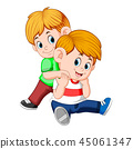 boy and her brother on her back playing together 45061347