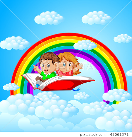 happy kids flying on big open book with rainbow  45061371